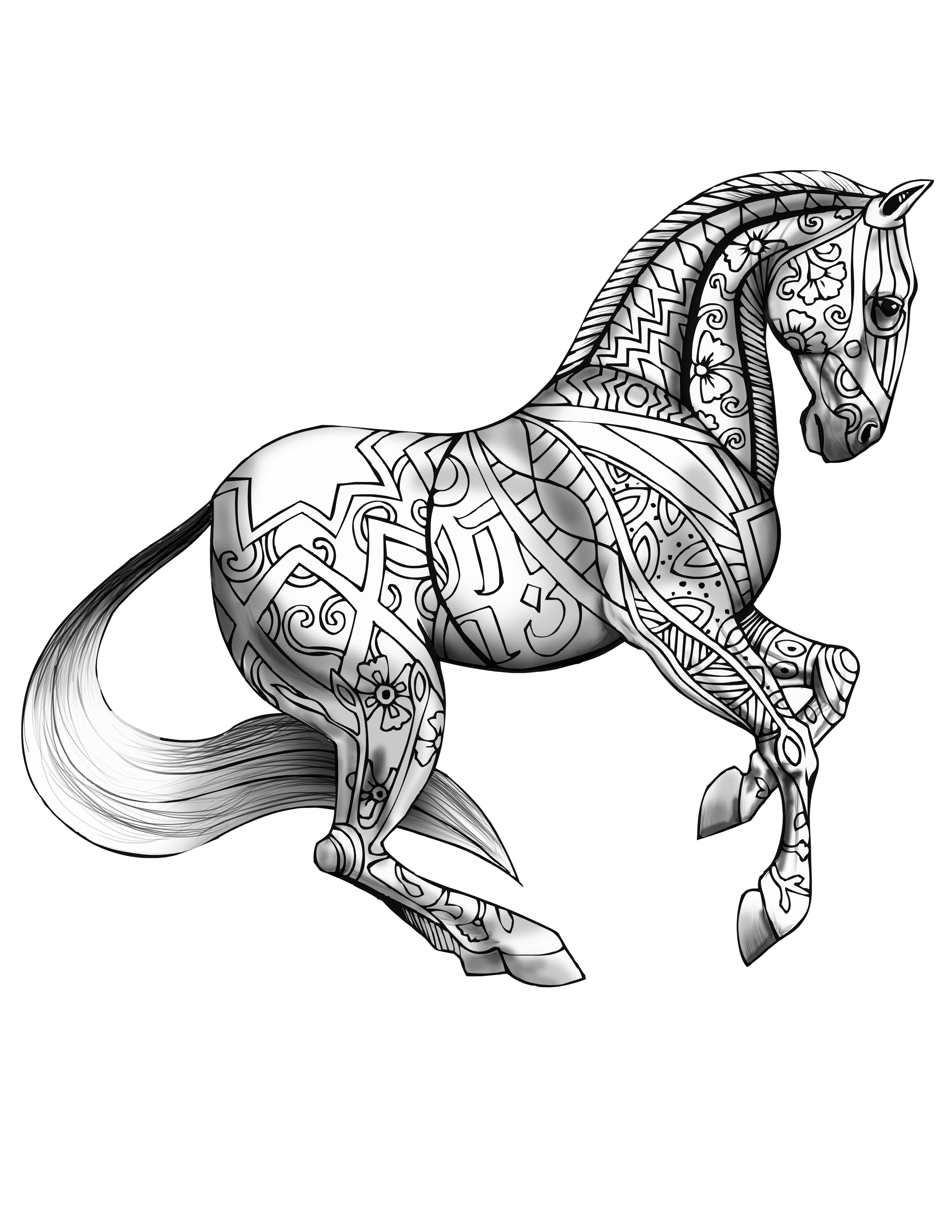 horse adult coloring pages - photo#24