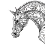 decorative horse profile for print-with shade