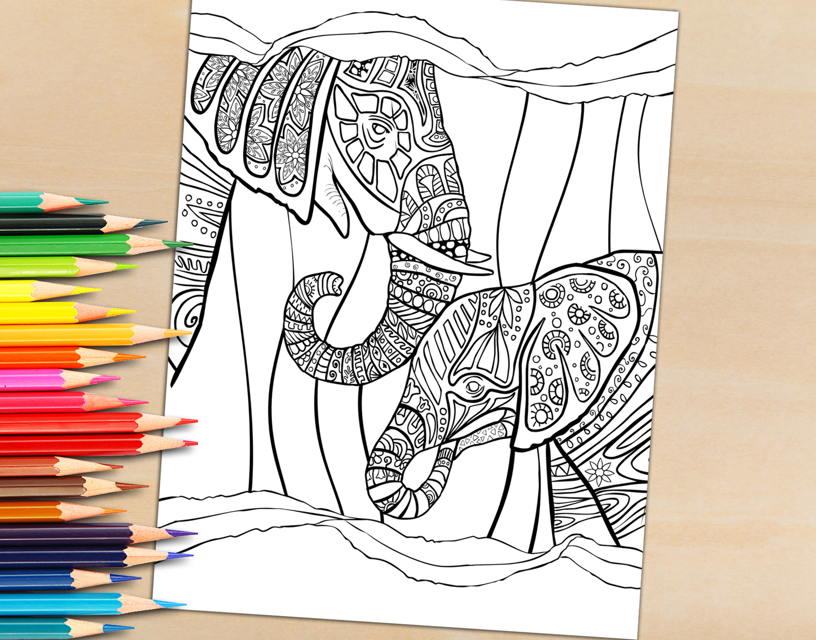 Adult Coloring Book Page, Mother and Child Elephant Coloring Page for Adults