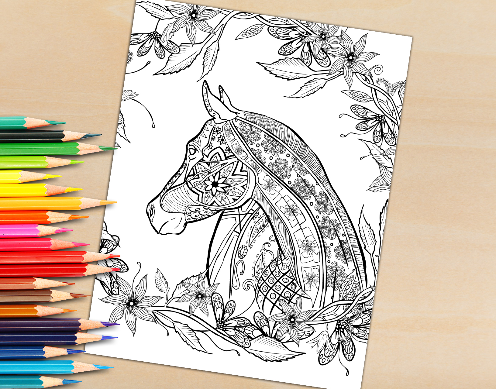 Adult Coloring Book Page, Hand Drawn Decorative Horse For Coloring To Print