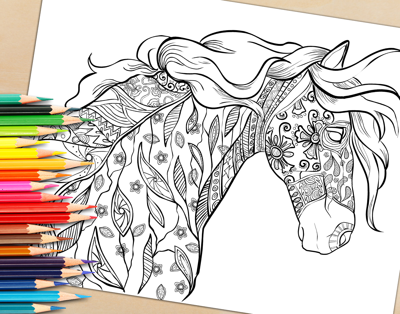 Adult Coloring Book Page, Decorative Horse Coloring Page for Download
