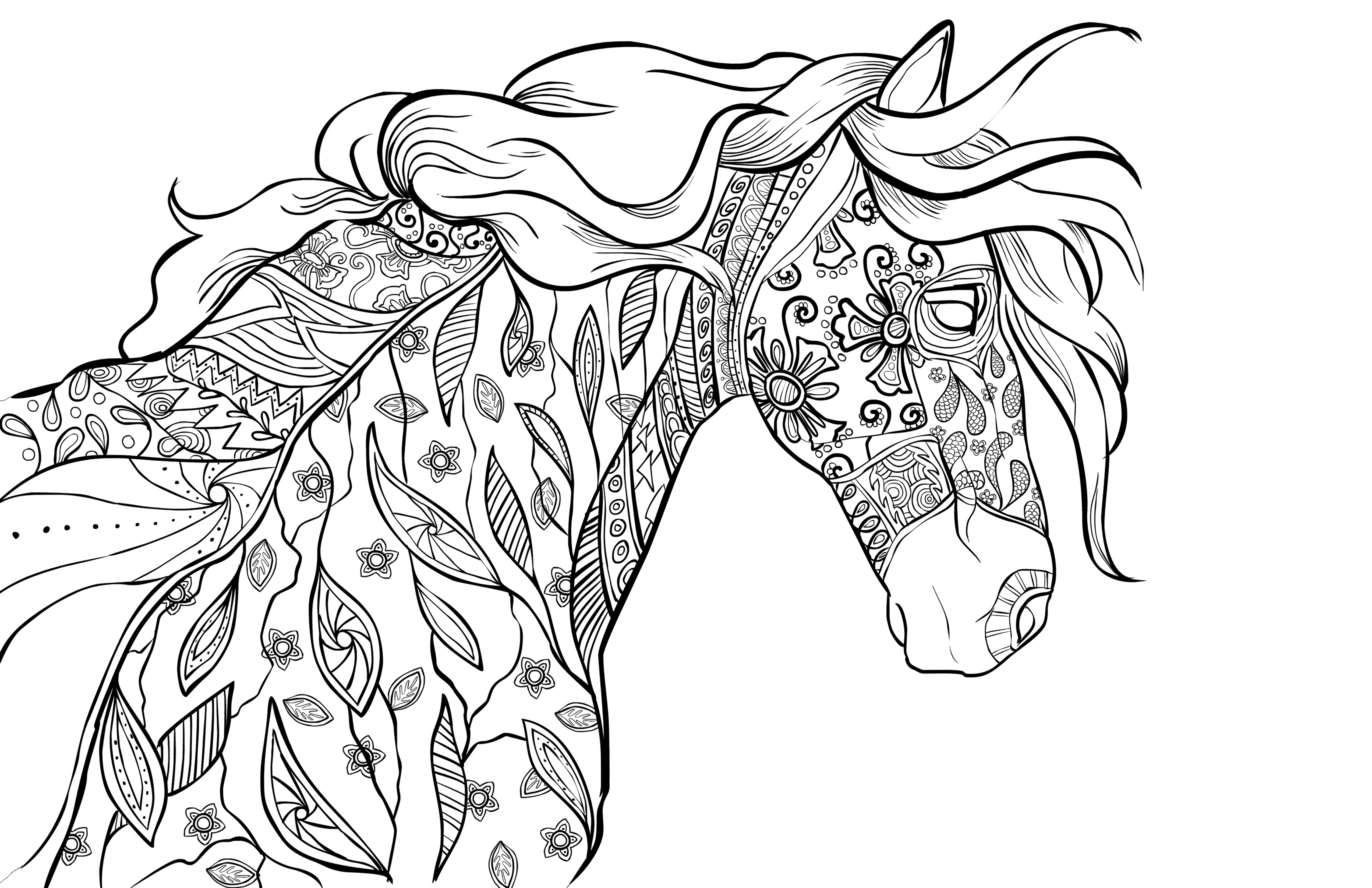 horse adult coloring pages - photo#25