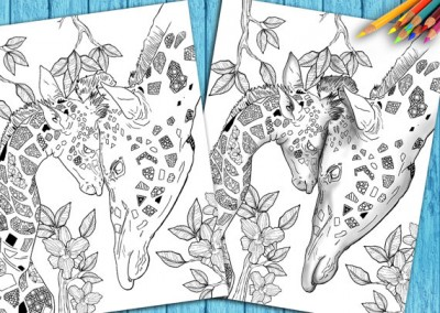 Adult Coloring Book Page To Download and Print Giraffe Mother/Child