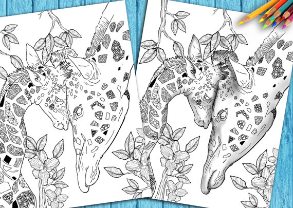 Adult Coloring Book Page To Download and Print Giraffe Mother/Child ...