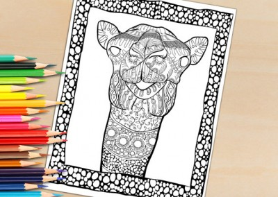 Adult Coloring Book Page, Hand Drawn Decorative Camel For Coloring To Print