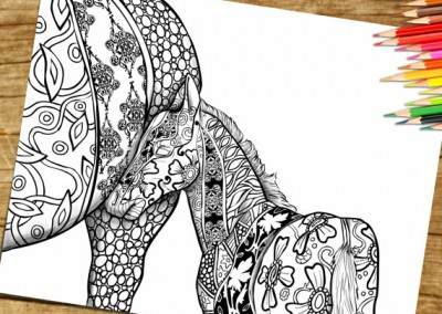Coloring Page For Adults Print and Download- Horse Foal
