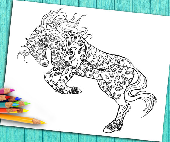 Digital Coloring Book Page For Adults