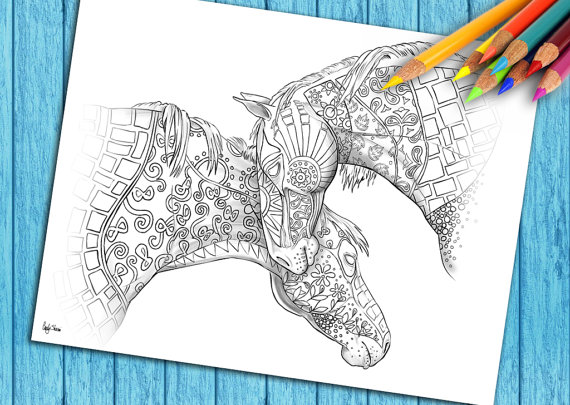 Adult Coloring To Download and Print, Coloring Pages For Grown Ups, Two Horses With Shading
