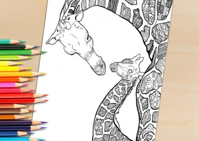 Coloring Book Page for Adults Download and Print – Giraffe mother and child