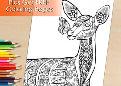 Coloring Book Page For Adults, Beautiful Deer, To Download and Print