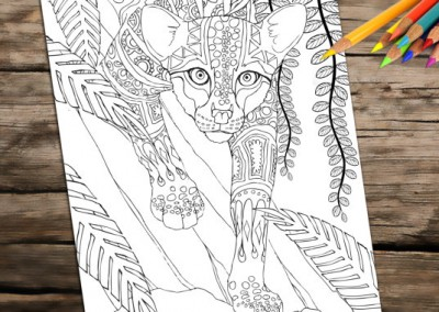Adult Coloring Book Page, Printable Wild Cat To Download And Print