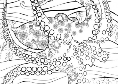 Adult Coloring Book Page To Print and Download. Printable Beautiful Octopus Under The Sea
