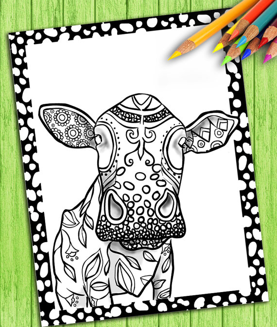 Digital Adult Coloring Book Page – Cow