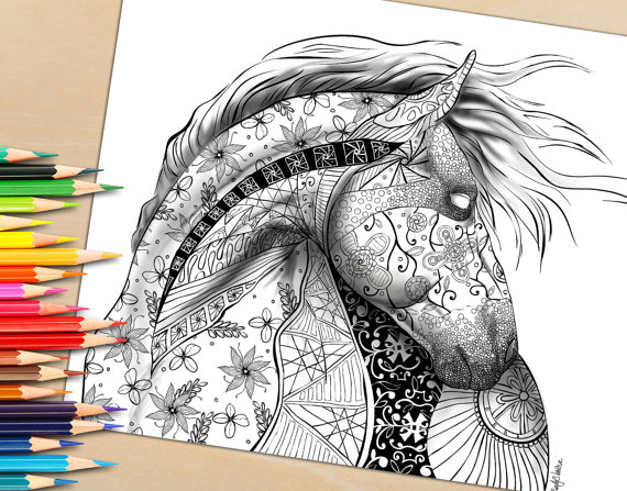 Printable Adult Coloring Page From Coloring book, Horse Shaded
