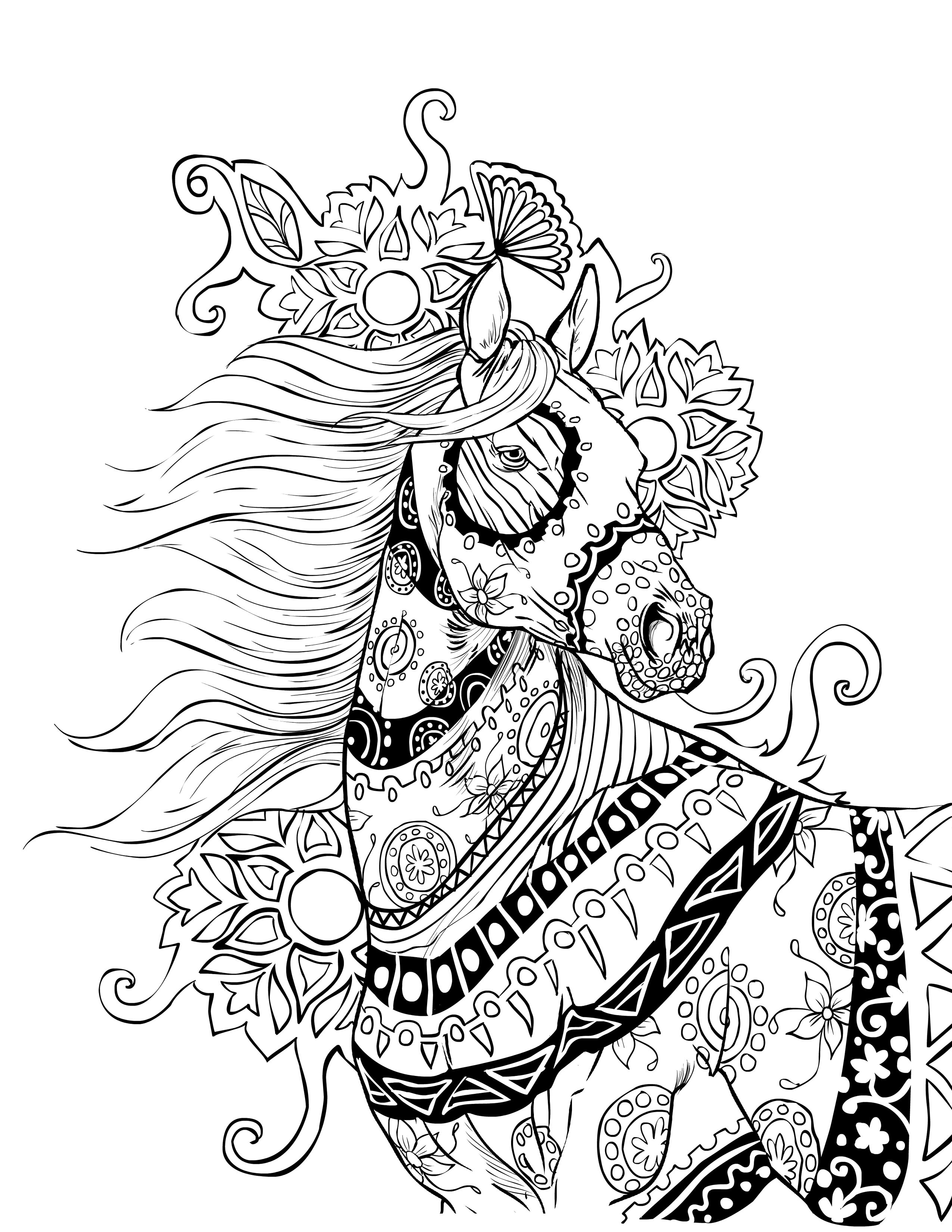 horse adult coloring pages - photo#27