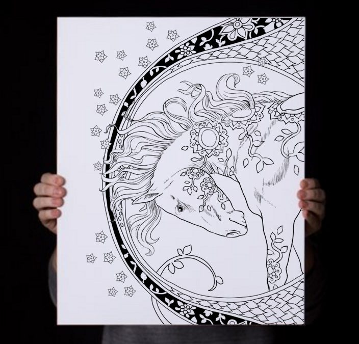 Horse Coloring Poster