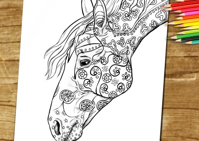 Adult Colouring Book Page To Download and Print – Horses