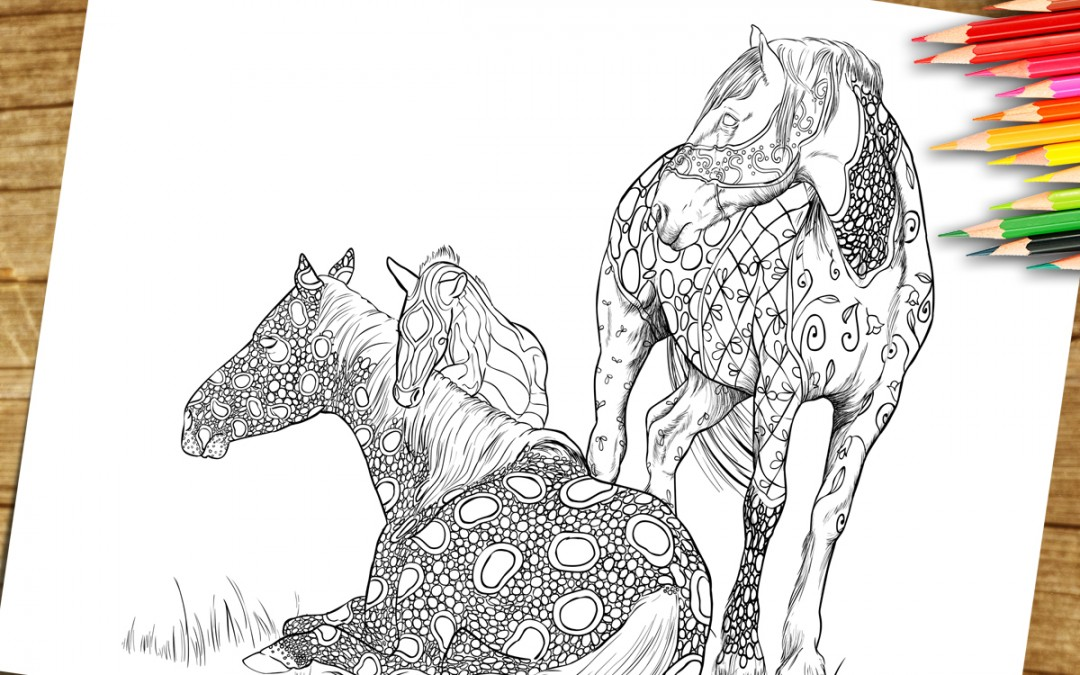 Coloring Book Page For Adults Print and Download- Horse Foal and Mare