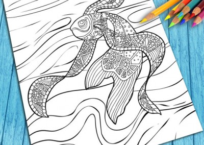 Adult Coloring Book Page, Beautiful Doodle Fish Coloring Page for Download
