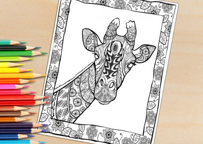 Printable Adult Coloring Book Page Print and Download- Giraffe Portrait