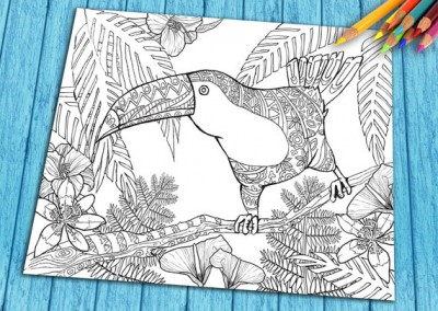Adult Digital Coloring Book Page, Printable Beautiful Doodle Exotic Tropical Bird Coloring Page for Download
