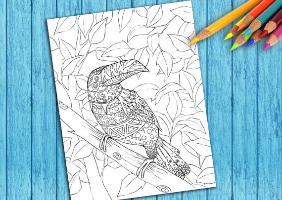 Adult Coloring Book Page, Printable, Tropical Forest Bird Hand Drawing