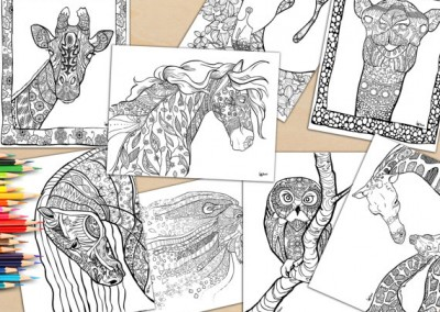 Digital Adult Coloring Book. 18 Beautifully Hand Drawn Coloring Pages of Animals To Download And Print