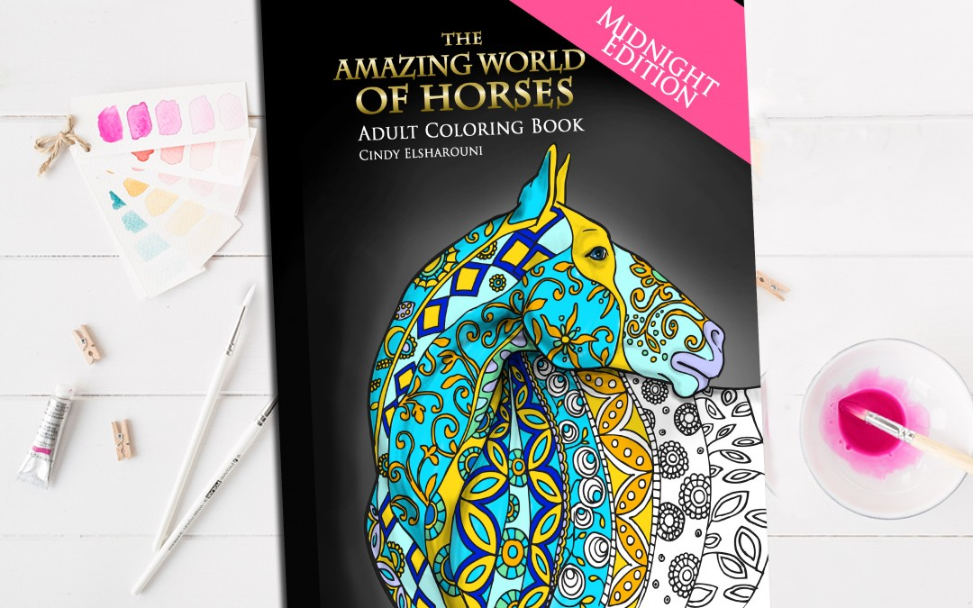 Midnight Edition Amazing World of Horses Adult Coloring Book
