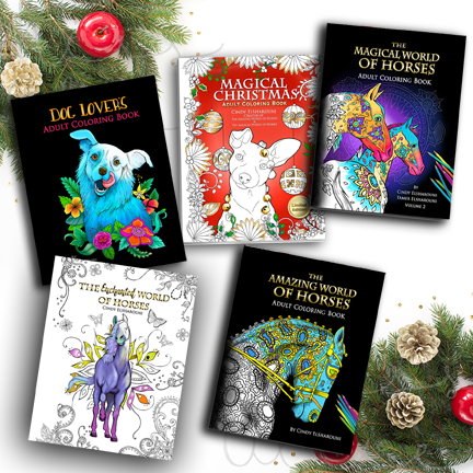 Adult Coloring Book Bundle 5 Set – The Amazing World of Horses,  The Magical World of Horses,     The Enchanted World of Horses,     Dog Lovers Coloring Book,     Magical Christmas (Limited Edition)