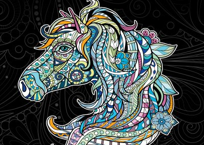 Horses Animals And Other Designs Adult Coloring Book