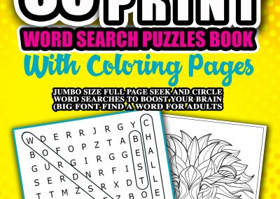 60 Extra Large Print Word Search Puzzles Book With Coloring Pages